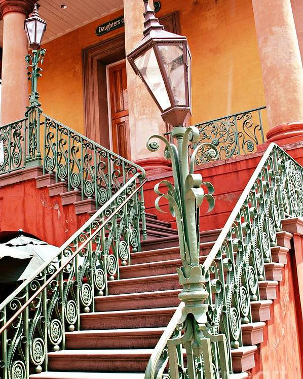 Charleston Aqua Teal Staircase Poster featuring the photograph Charleston Staircase Street Lamps Architecture by Kathy Fornal