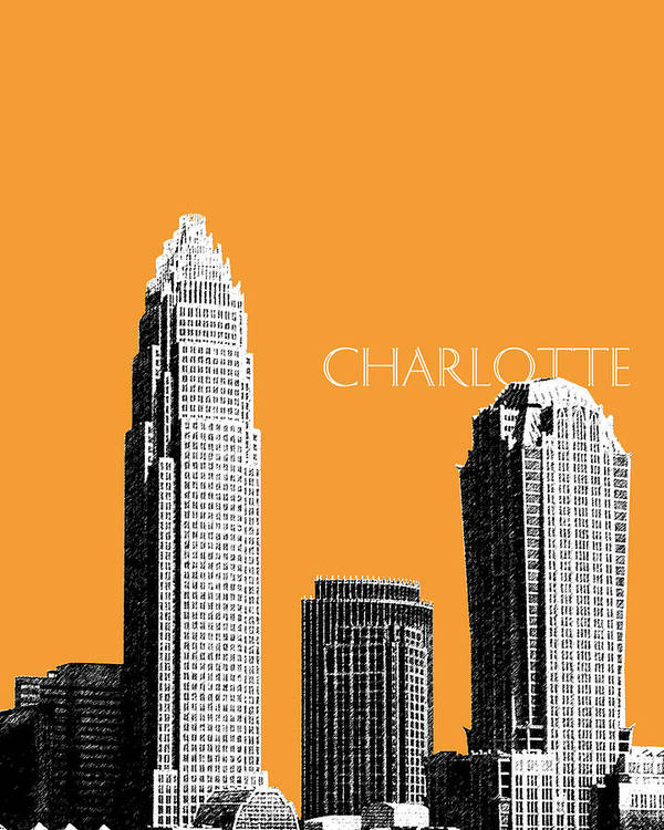 Architecture Poster featuring the digital art Charlotte Skyline 2 - Orange by DB Artist