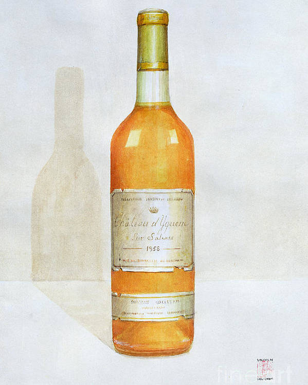Bottle; Wine; Alcohol; Beverage; Label; Shadow; Labels Poster featuring the painting Chateau D Yquem by Lincoln Seligman