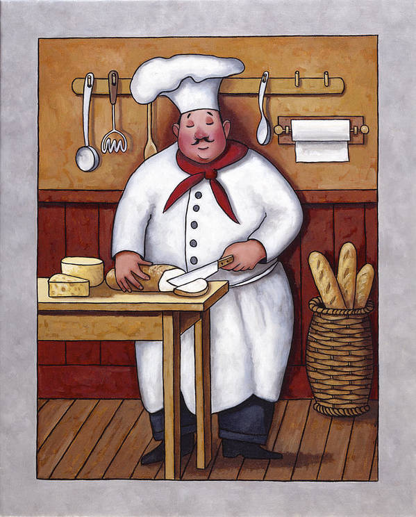 Chef Poster featuring the painting Chef 3 by John Zaccheo