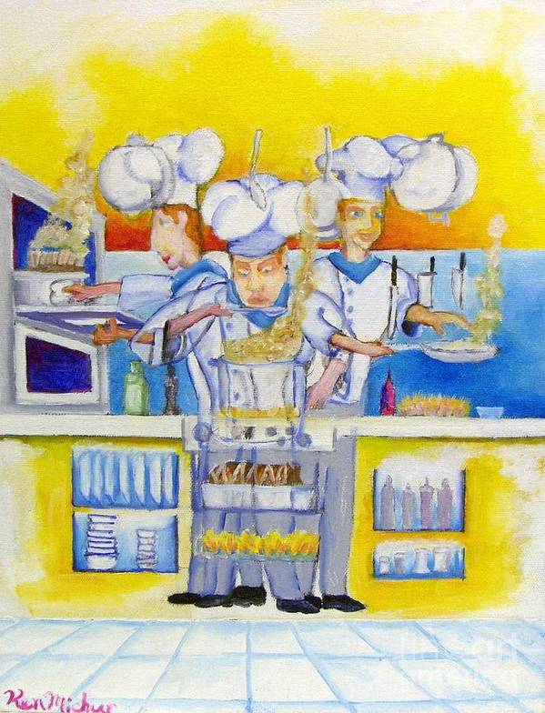 Chef Kitchen Artistkenpaint Abstra Food Cooking Cook Oil Painting Food Beverage Fring Taste Pots Pans Fire Chefhat Hat Oven Plates White Yellow Blue Kenosha Wisconsin Chef Foodee Oven Stove Eating Frying Soup Restaurant Dinner Supper Eating  Poster featuring the painting Chef's Kitchen by Kenneth Michur
