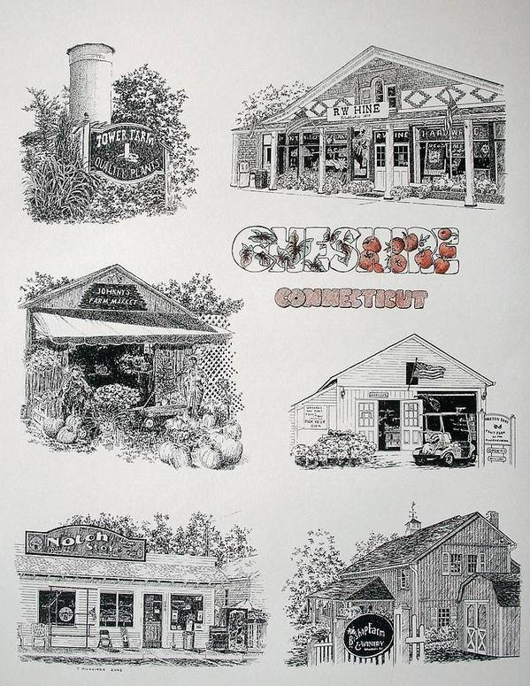 Connecticut Chechire Ct Architecture Buildings New England Poster featuring the painting Cheshire Landmarks by Tony Ruggiero