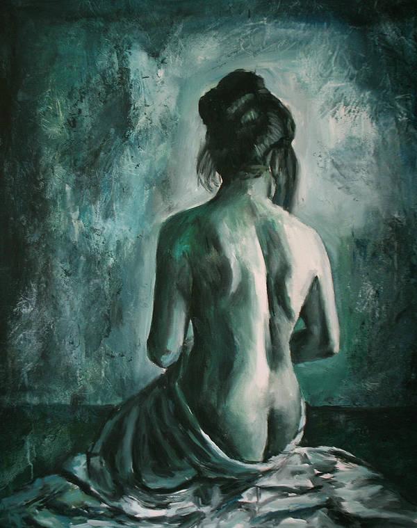 Nude Poster featuring the painting Chiaro Di Luna by Escha Van den bogerd