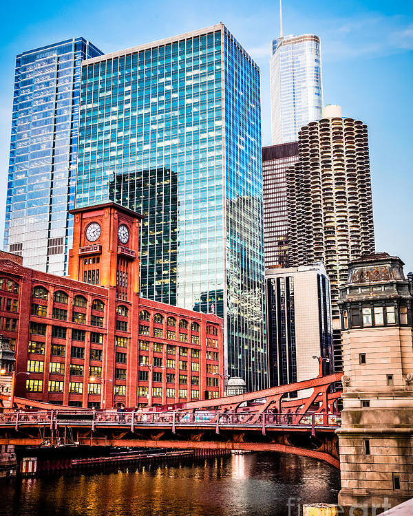 America Poster featuring the photograph Chicago Downtown At Lasalle Street Bridge by Paul Velgos