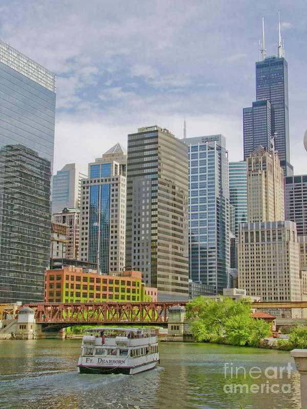 333 West Wacker Poster featuring the photograph Chicago Loop Downtown Skyline From Chicago River  by Linda Matlow
