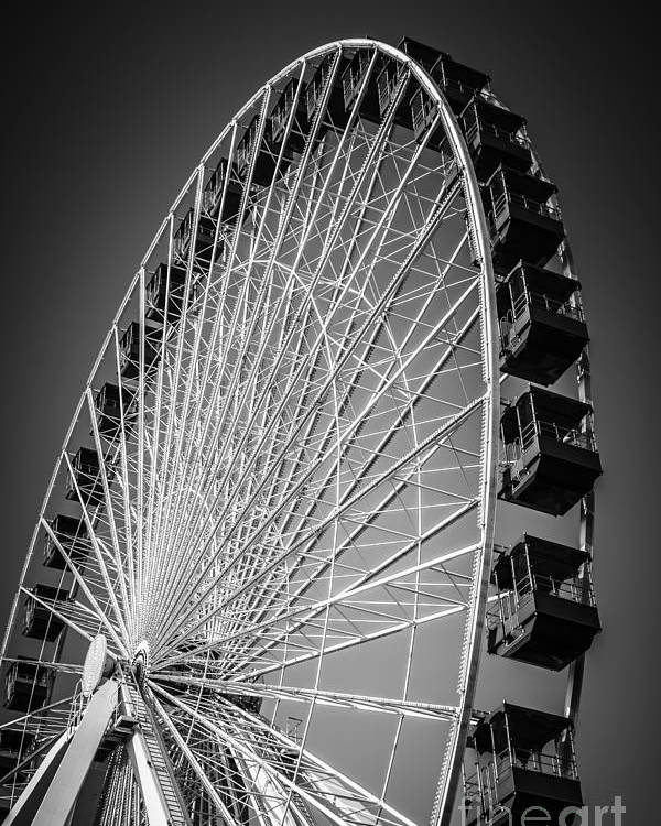 America Poster featuring the photograph Chicago Navy Pier Ferris Wheel In Black And White by Paul Velgos