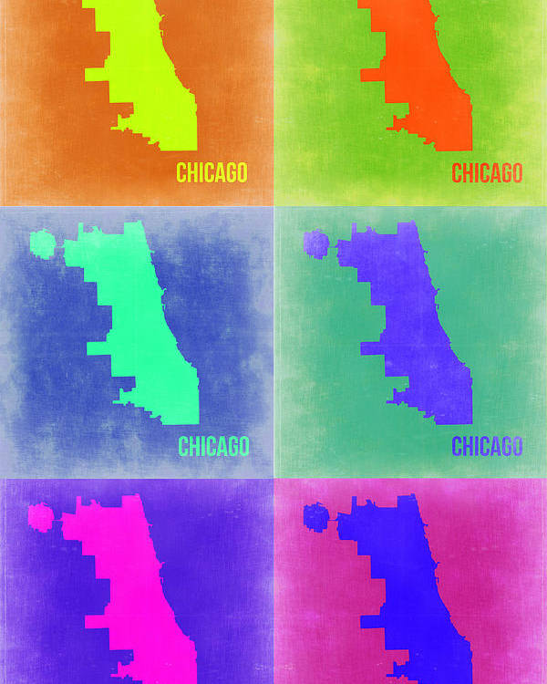 Chicago Map Poster featuring the painting Chicago Pop Art Map 3 by Naxart Studio