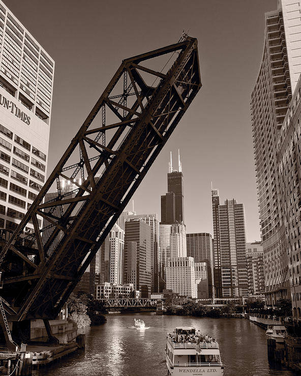 Boat Poster featuring the photograph Chicago River Traffic Bw by Steve Gadomski