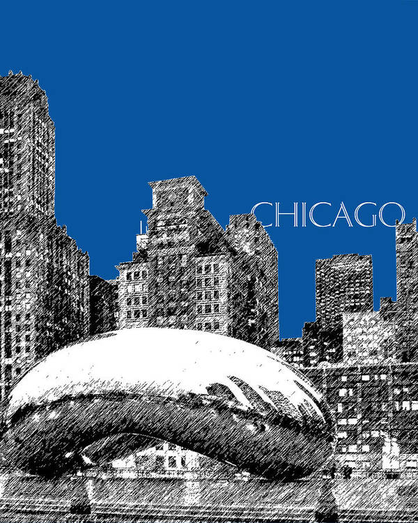 Architecture Poster featuring the digital art Chicago The Bean - Royal Blue by DB Artist