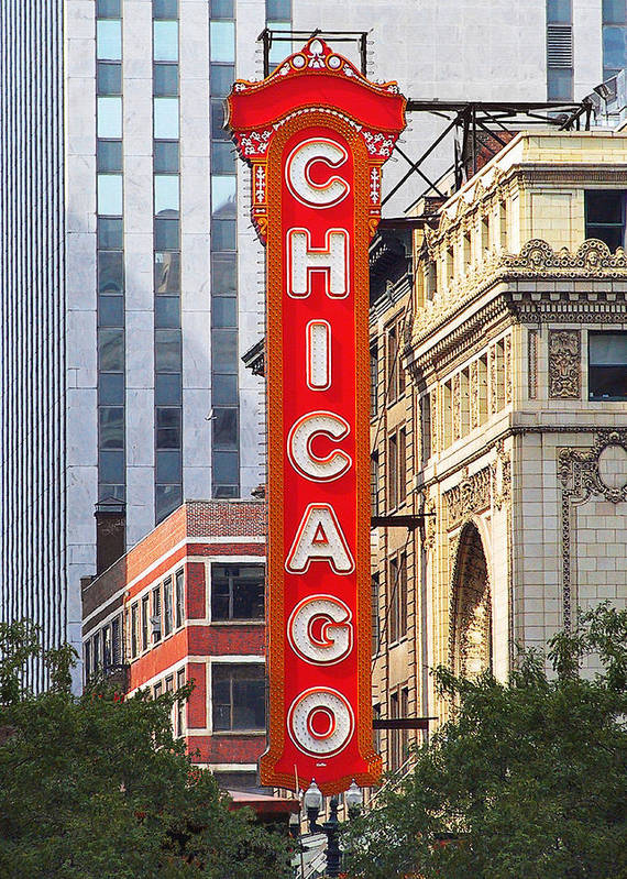 Chicago Poster featuring the photograph Chicago Theatre - A Classic Chicago Landmark by Christine Till