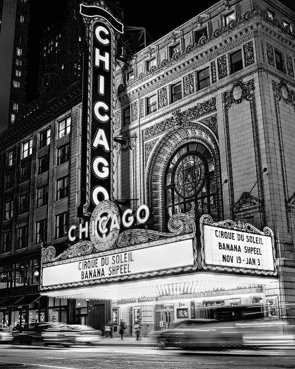 Chicago Poster featuring the photograph Chicago Theatre Marquee Sign at Night Black and White by Christopher Arndt