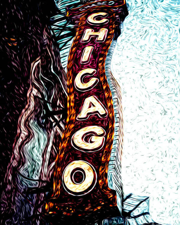 America Poster featuring the photograph Chicago Theatre Sign Digital Art by Paul Velgos