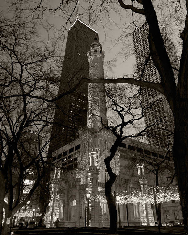 Ave Poster featuring the photograph Chicago Water Tower B W by Steve Gadomski