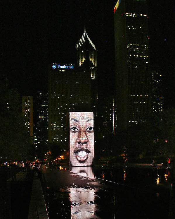 Millennium Poster featuring the photograph Chicago's Crown Fountain At Night by Christine Till