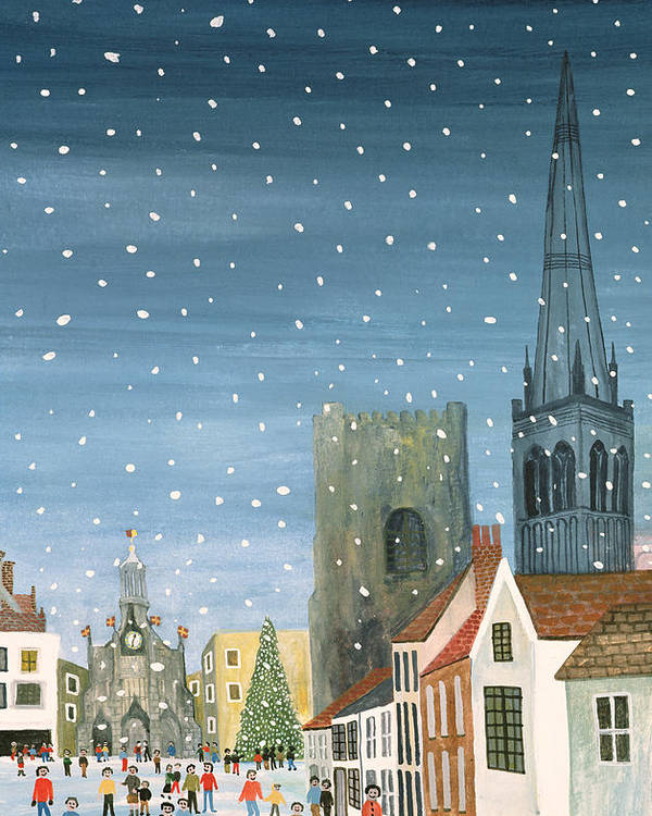 Winter; Snowy; Snowing; West Sussex; Gothic Architecture; Ecclesiastical; Christmas Tree; Festive Season; Crowd; Community; City; Spire; Nocturne; Naive Poster featuring the painting Chichester Cathedral A Snow Scene by Judy Joel