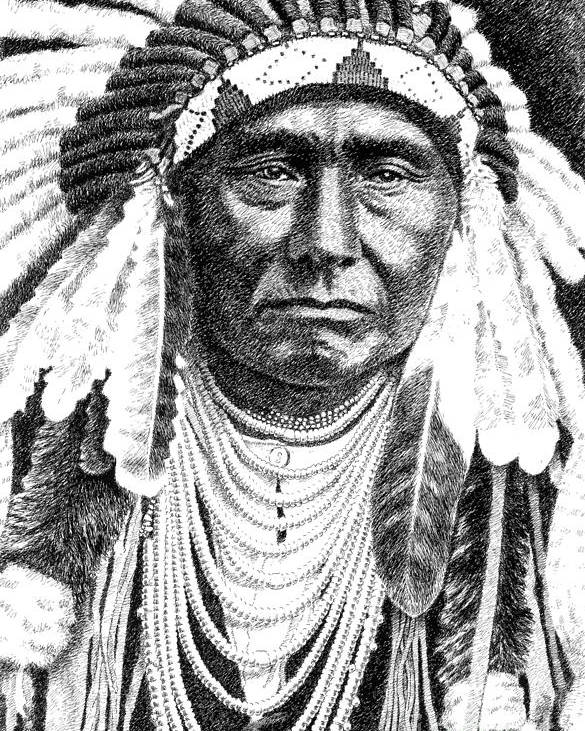 Jim Bridger Poster featuring the drawing Chief-joseph by Gordon Punt