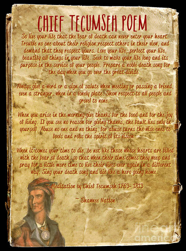 Chief Tecumseh Poem Live Your Life Poster By Celestial Images