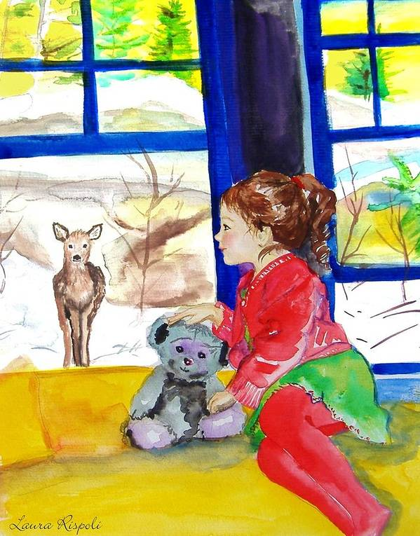 Christmas Poster featuring the painting Childhood by Laura Rispoli