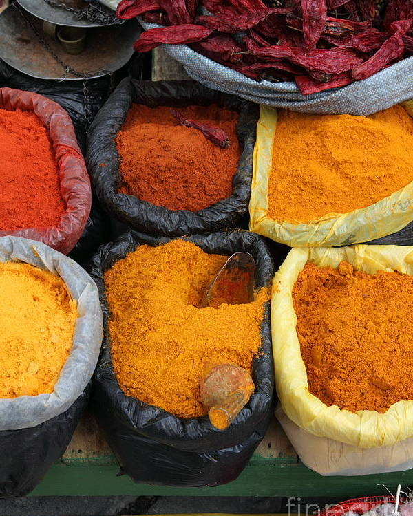 Markets Poster featuring the photograph Chilli Powders 3 by James Brunker