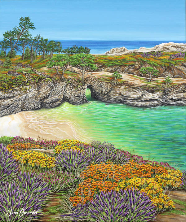 Ocean Poster featuring the painting China Cove Paradise by Jane Girardot