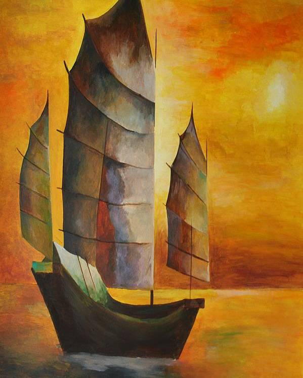 Sailboat Poster featuring the painting Chinese Junk In Ochre by Tracey Harrington-Simpson
