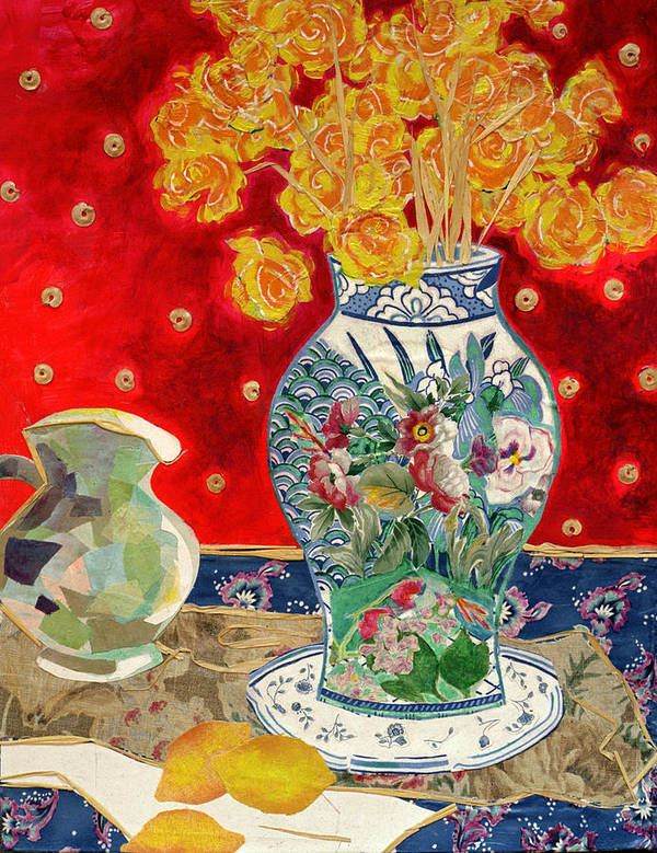 Flowers In A Vase Poster featuring the mixed media Chinoiserie by Diane Fine
