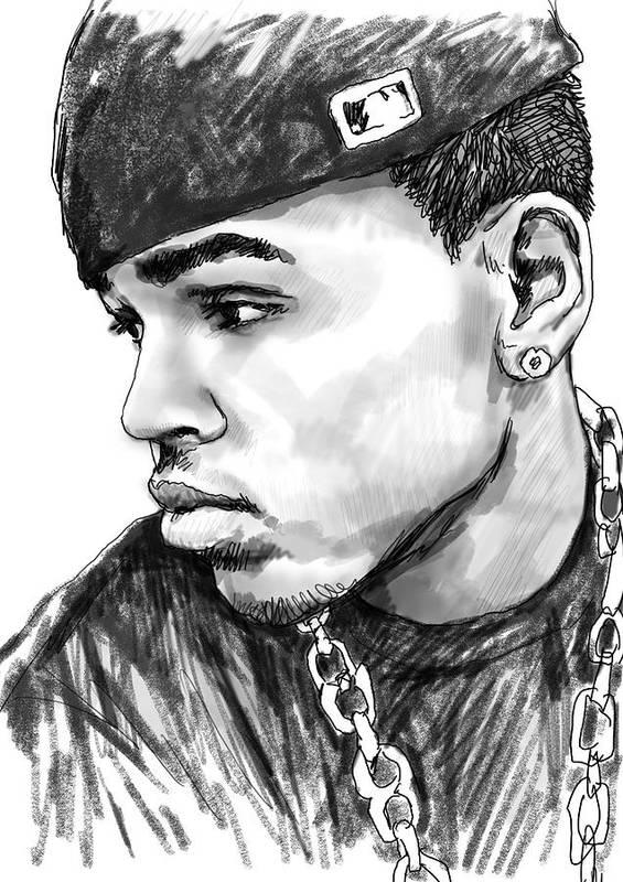 Chris Brown Art Drawing Sketch Portrait Poster featuring the drawing Chris Brown Art Drawing Sketch Portrait by Kim Wang