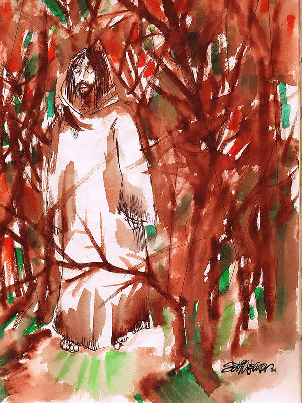 Christ In The Garden Poster featuring the painting Christ in the Forest by Seth Weaver