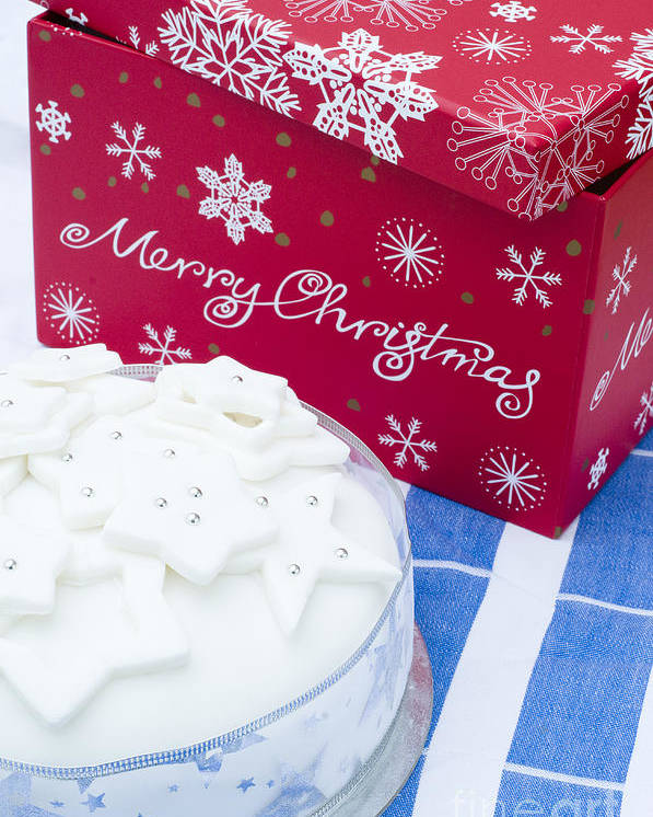 Blue Poster featuring the photograph Christmas Cake by Anne Gilbert
