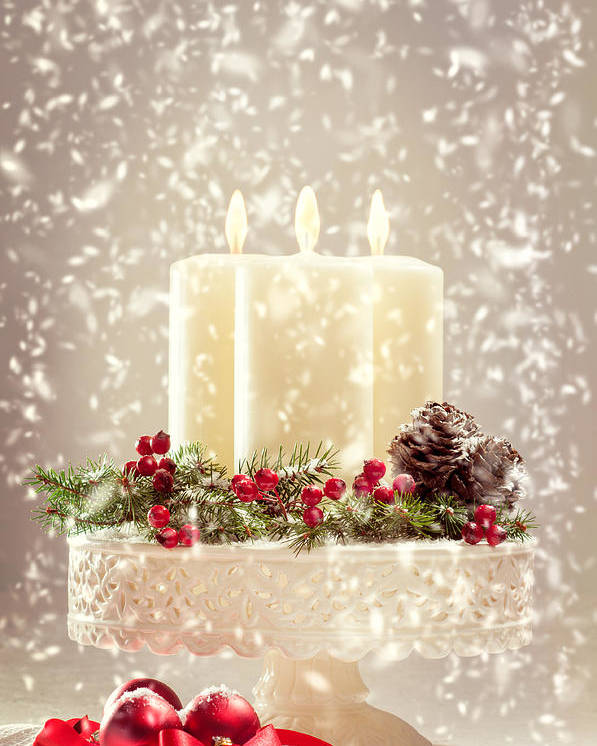 Christmas Poster featuring the photograph Christmas Candles by Amanda Elwell