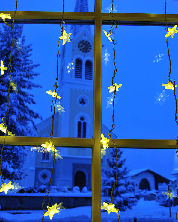 Christmas Poster featuring the photograph Christmas Decoration - Yellow Stars And Blue Church by Matthias Hauser
