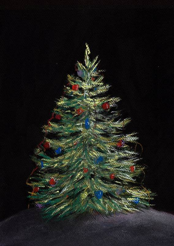 Single Poster featuring the painting Christmas Eve by Anastasiya Malakhova