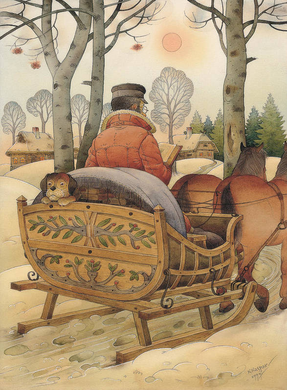 Christmas Gretting Card Winter Books Lanscape Snow White Holiday Poster featuring the painting Christmas Eve by Kestutis Kasparavicius
