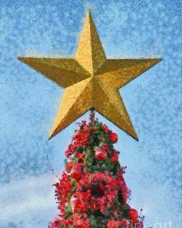 Christmas Poster featuring the painting Christmas Tree by George Atsametakis