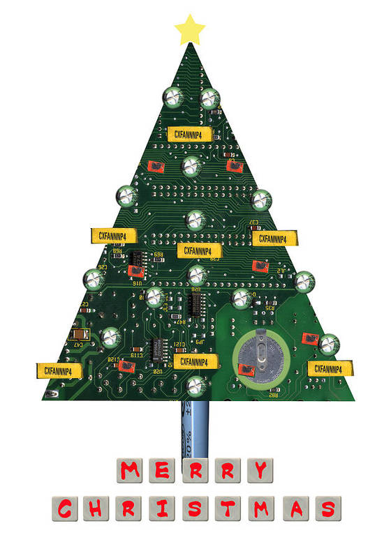 Christmas Paintings Poster featuring the painting Christmas Tree Motherboard by Mary Helmreich