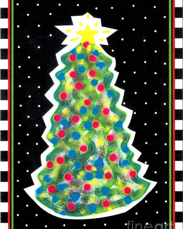 Christmas Tree Poster featuring the painting Christmas Tree Polkadots by Genevieve Esson