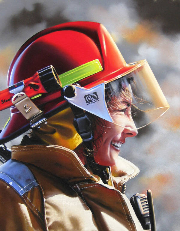 Firefighter Poster featuring the painting Christy by Dianna Ponting