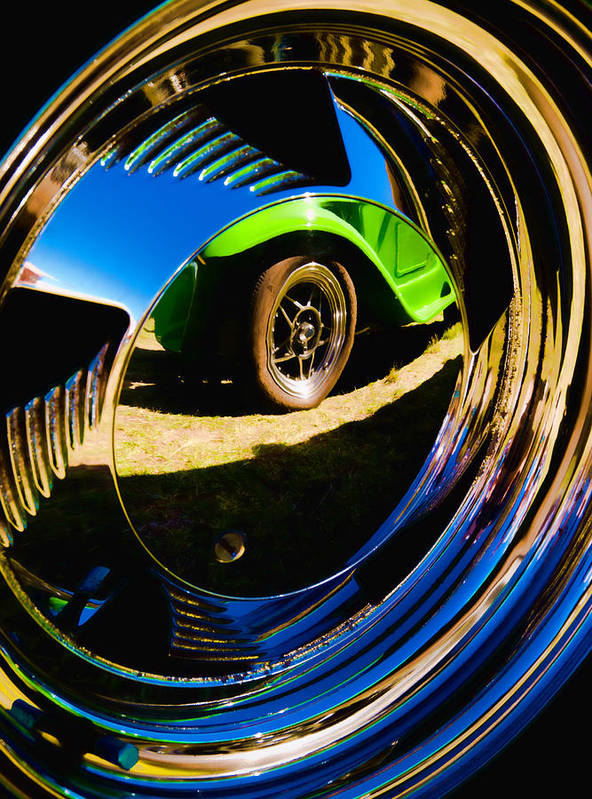 Chrome Hubcap Poster featuring the photograph Chrome Hubcap by Phil 'motography' Clark
