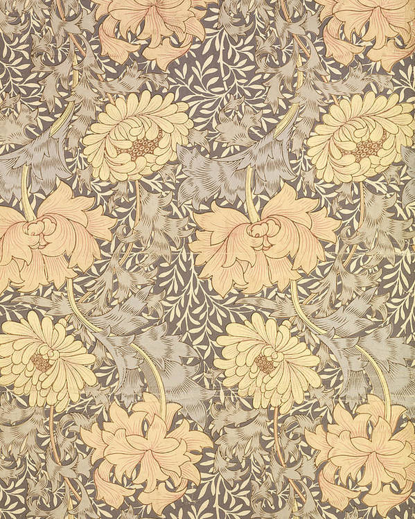 Arts And Crafts Movement Poster featuring the tapestry - textile Chrysanthemum by William Morris