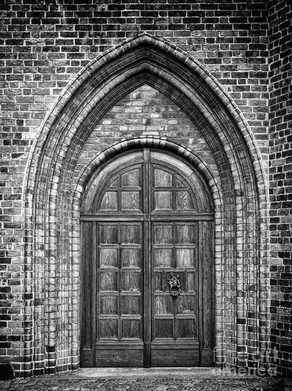 Monochromatic Poster featuring the photograph Church Door Monochromatic by Antony McAulay