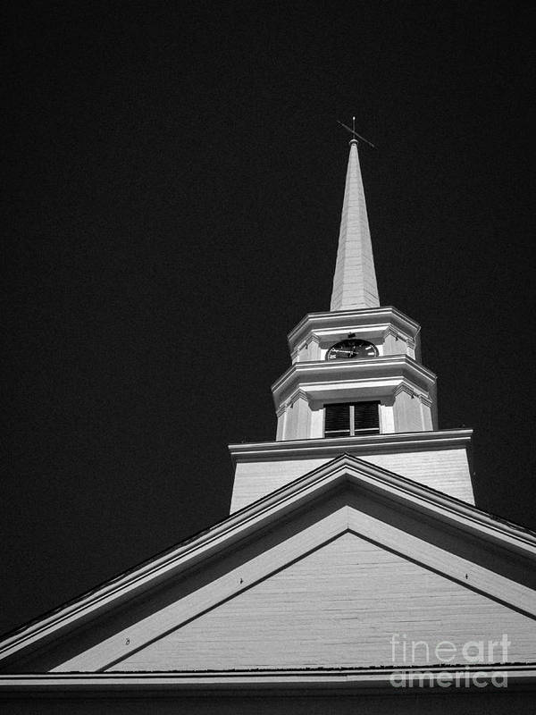 Church Poster featuring the photograph Church Steeple Stowe Vermont by Edward Fielding