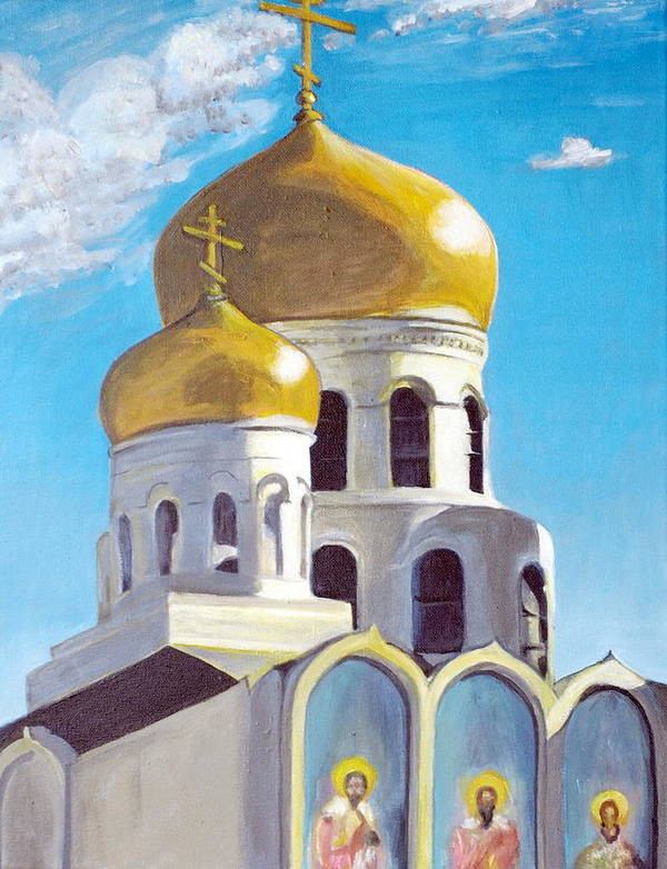 Easter Poster featuring the painting Church by Vera Lysenko