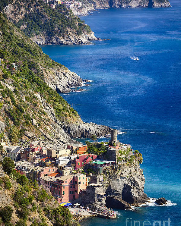 Cinque Terre Poster featuring the photograph Cinque Terre Towns On The Cliffs by George Oze