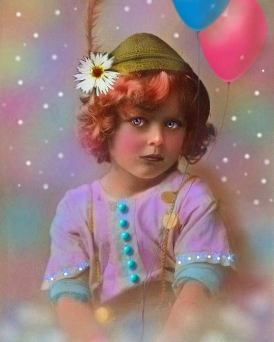 Child Poster featuring the painting Circus Pixie by Karen Morley