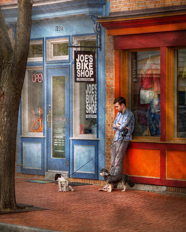 Baltimore Poster featuring the photograph City - Baltimore Md - Waiting By Joe's Bike Shop by Mike Savad