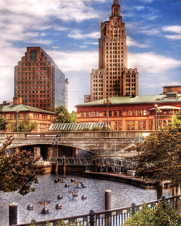 Savad Poster featuring the photograph City - Providence Ri - The Skyline by Mike Savad