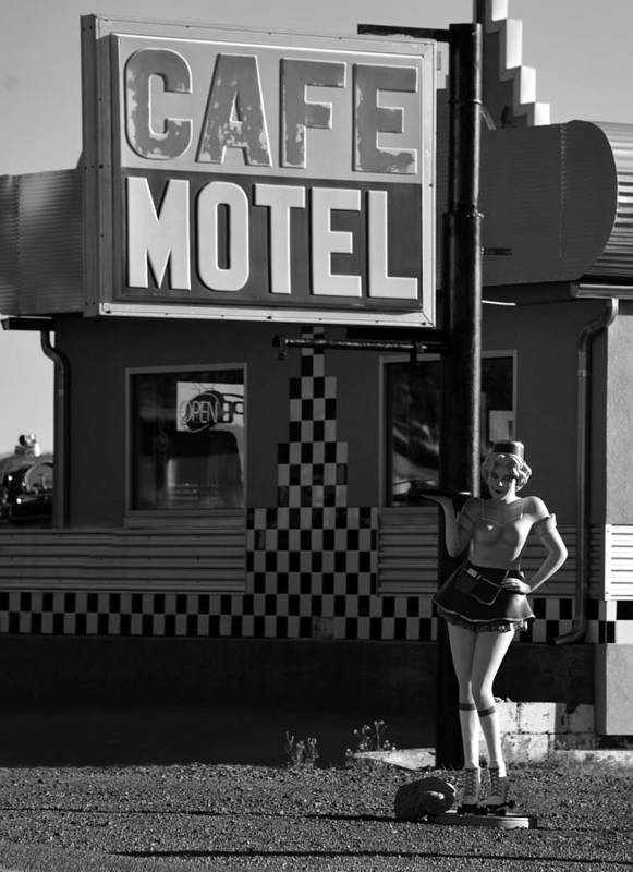 1950s Poster featuring the photograph Classic 50s Motel Cafe by David Lee Thompson