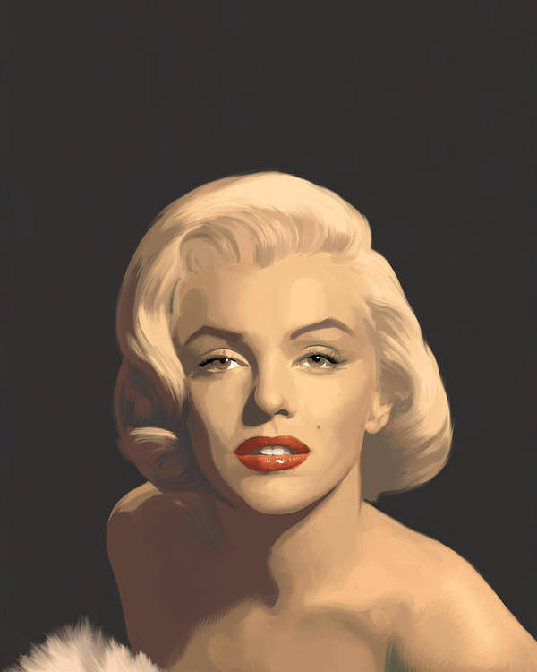 Marilyn Poster featuring the painting Classic Beauty In Graphic Gray by Chris Consani