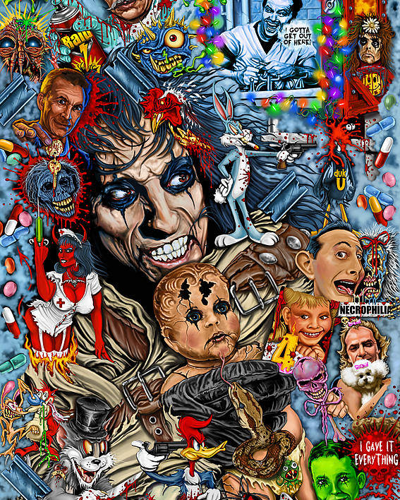 Alice Cooper Poster featuring the painting Clear A Path You Mothers I'm Going Home Alice Cooper by Timothy Phillips