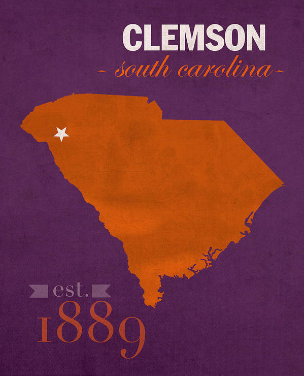 Clemson University Tigers College Town South Carolina State Map ...